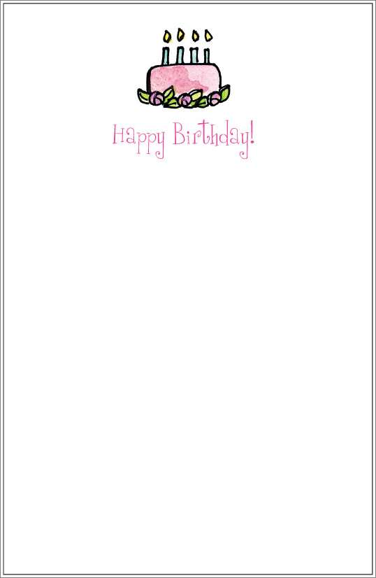 pink cake notepad or notesheets in acrylic holder, personalized