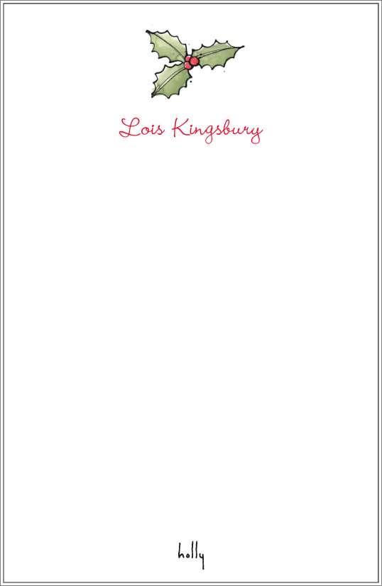 happy holidays - mistletoe notepad or notesheets in acrylic holder, personalized