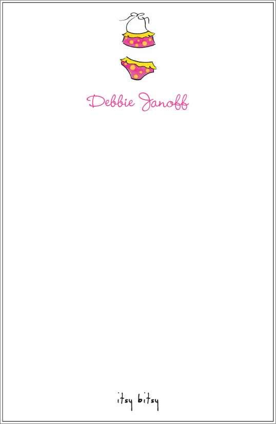 itsy bitsy - bikini notepad or notesheets in acrylic holder, personalized