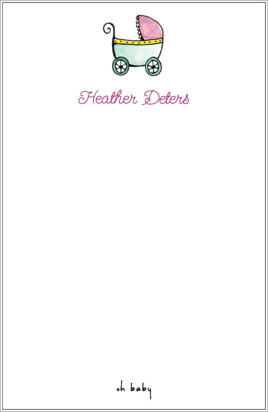 oh baby - baby buggy notepad or notesheets in acrylic holder, personalized