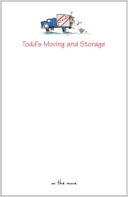 on the move - moving truck notepad or notesheets in acrylic holder, personalized