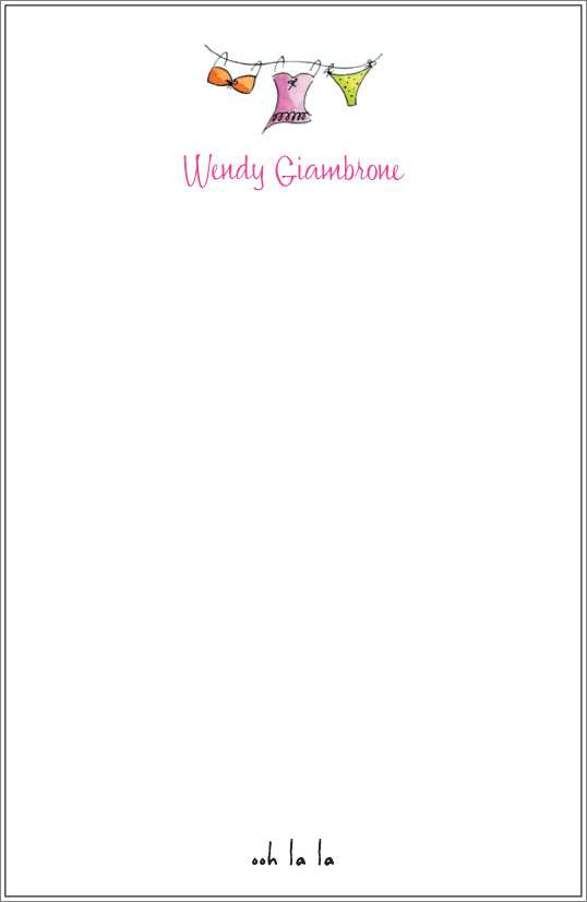 ooh la la - undergarments notepad or notesheets in acrylic holder, personalized