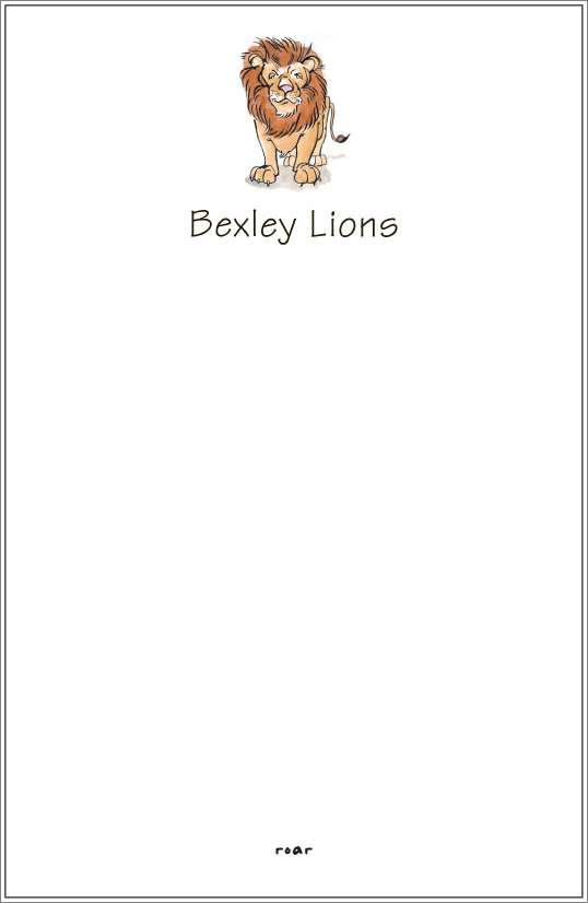 roar - lion notepad or notesheets in acrylic holder, personalized