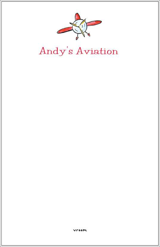 vroom - airplane notepad or notesheets in acrylic holder, personalized
