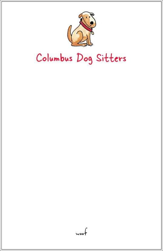 woof - brown dog notepad or notesheets in acrylic holder, personalized