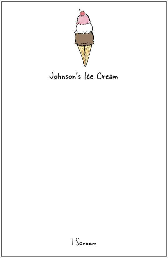 I scream - ice cream cone notepad or notesheets in acrylic holder, personalized