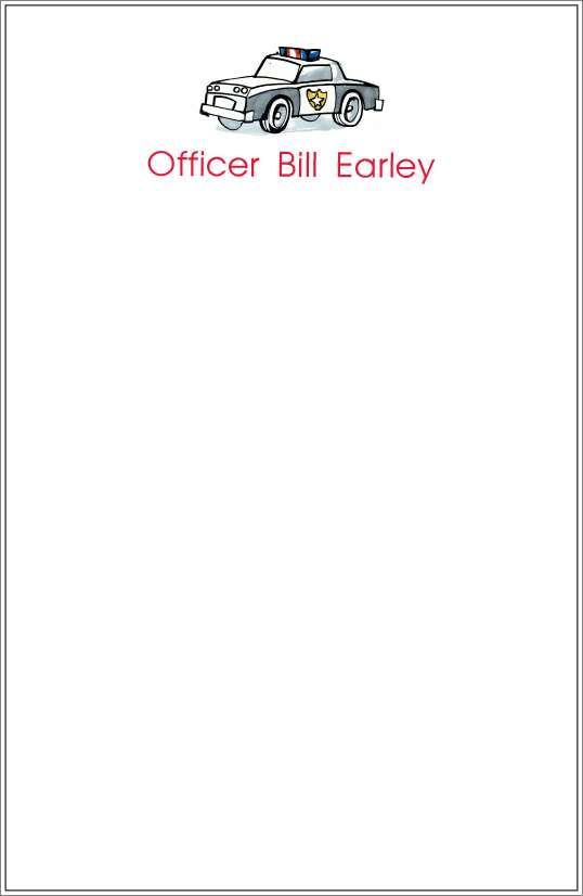 police car notepad or notesheets in acrylic holder, personalized