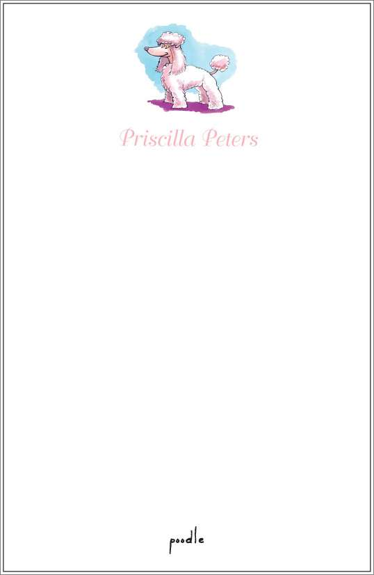 poodle notepad or notesheets in acrylic holder, personalized