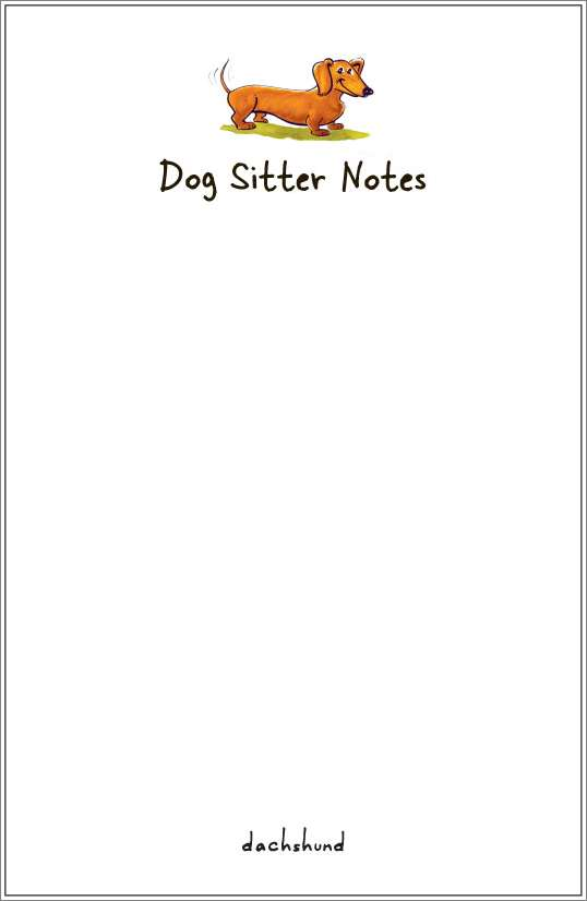 dachshund notepad or notesheets in acrylic holder, personalized