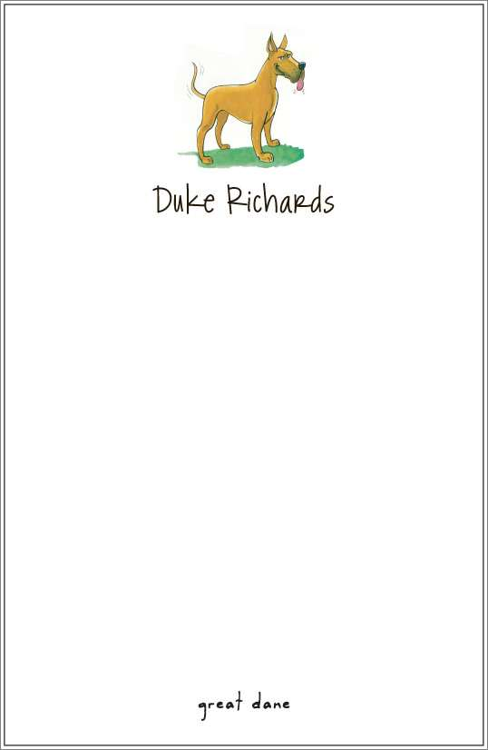 great dane notepad or notesheets in acrylic holder, personalized