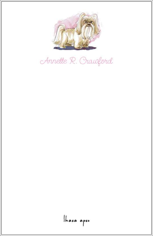 lhasa apso notepad or notesheets in acrylic holder, personalized
