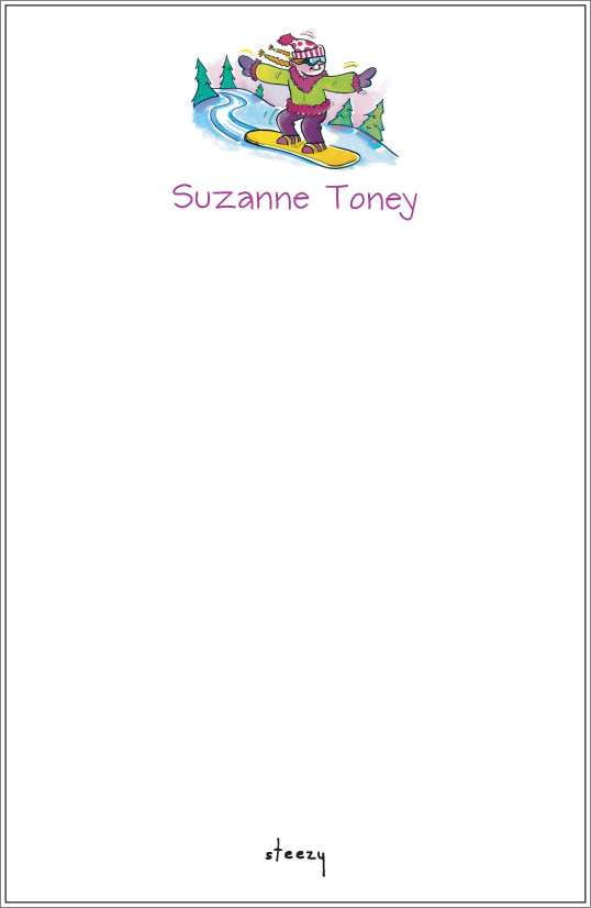 steezy - girl snowboarder notepad or notesheets in acrylic holder, personalized