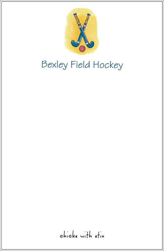 chicks with stix - field hockey notepad or notesheets in acrylic holder, personalized