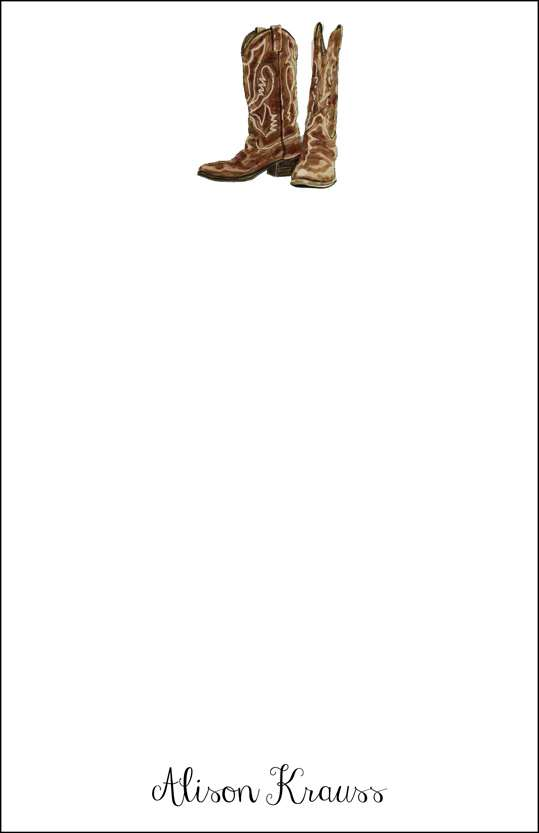 cowboy boots  notepad or notesheets in acrylic holder, personalized