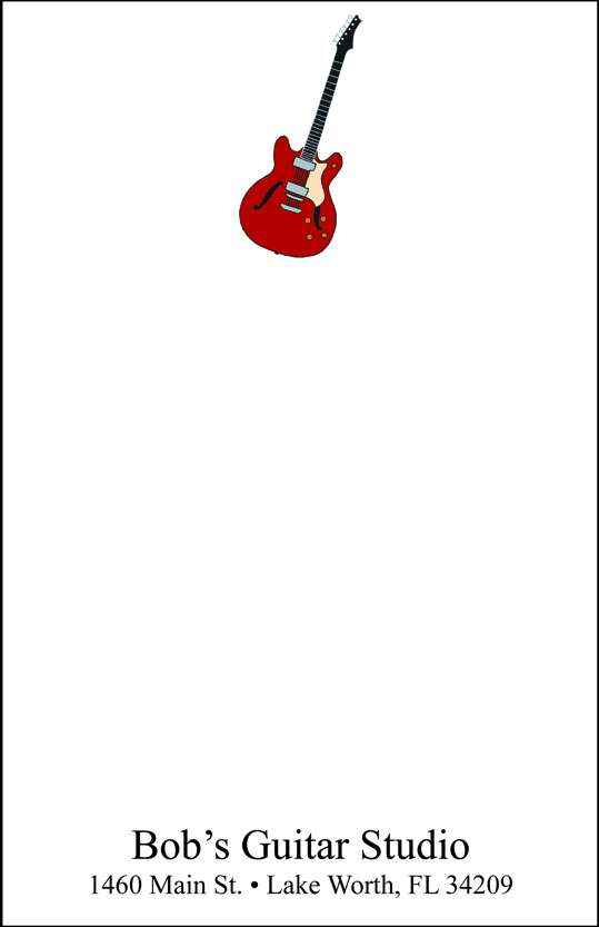 electric guitar  notepad or notesheets in acrylic holder, personalized
