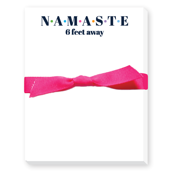 Namaste six feet awaynotepad, toilet paper design tied with a bow