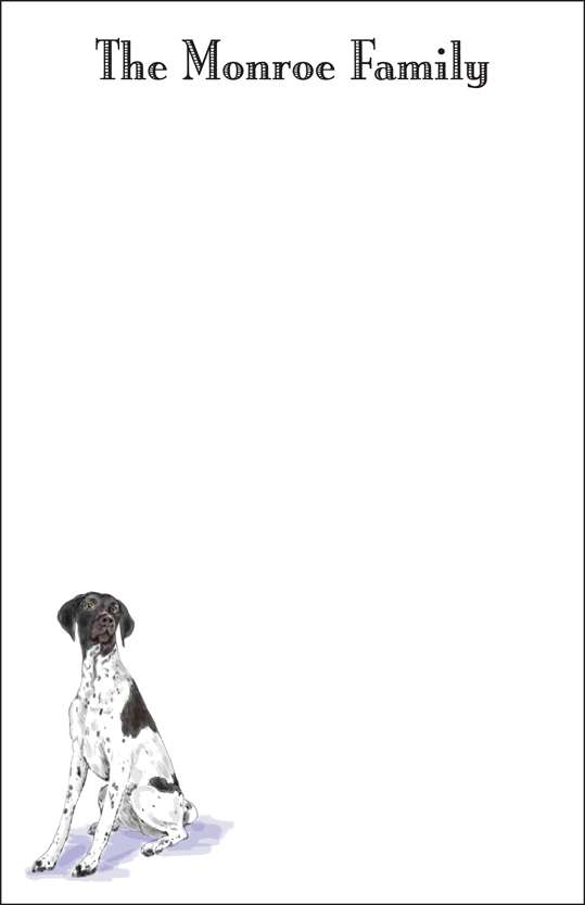 english pointer  notepad or notesheets in acrylic holder, personalized
