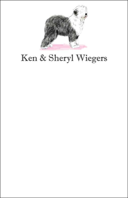 sheep dog  notepad or notesheets in acrylic holder, personalized