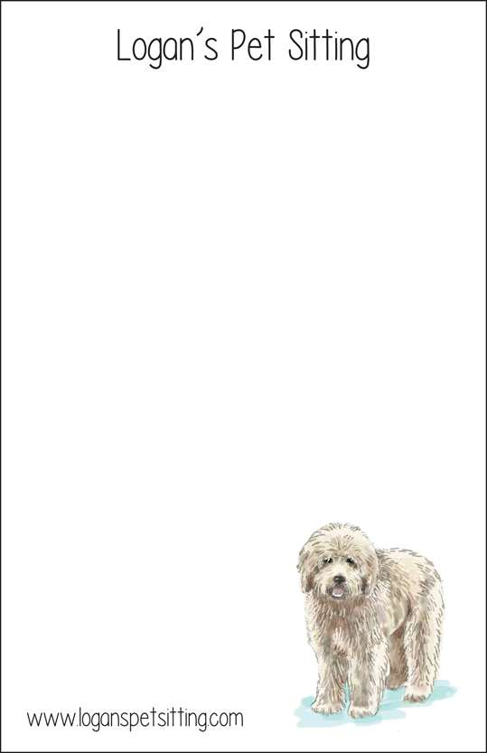 golden doodle  notepad or notesheets in acrylic holder, personalized