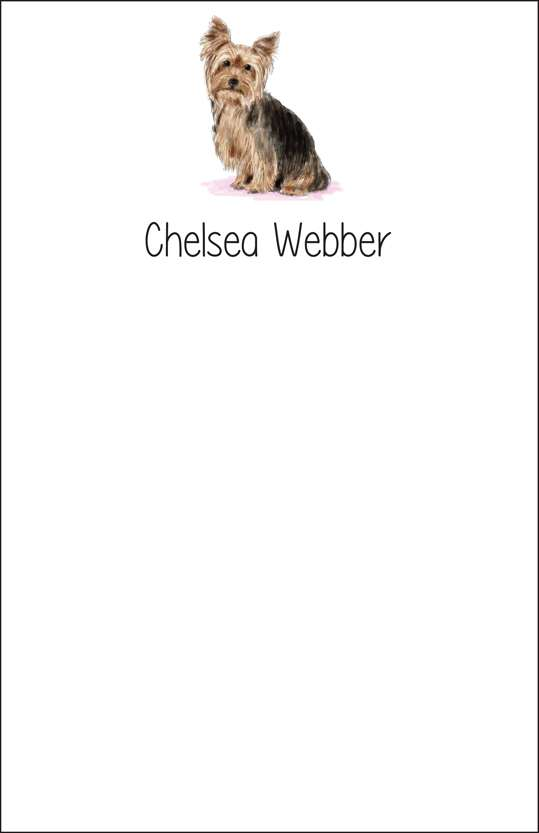 yorkie  notepad or notesheets in acrylic holder, personalized