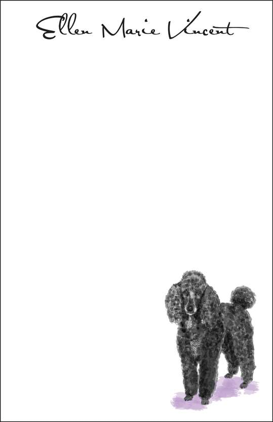 black poodle  notepad or notesheets in acrylic holder, personalized