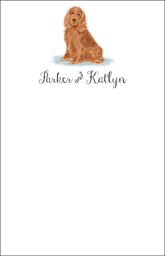 cocker spaniel  notepad or notesheets in acrylic holder, personalized