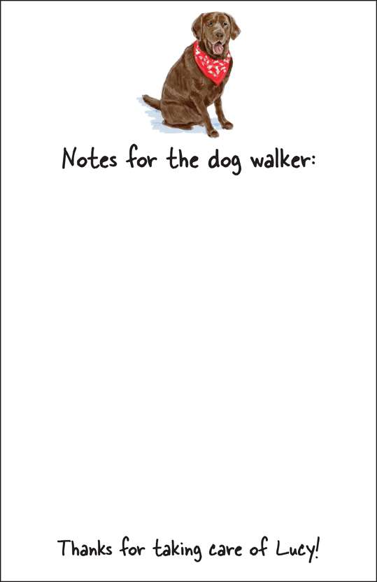 chocolate lab  notepad or notesheets in acrylic holder, personalized