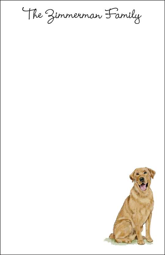 yellow lab  notepad or notesheets in acrylic holder, personalized