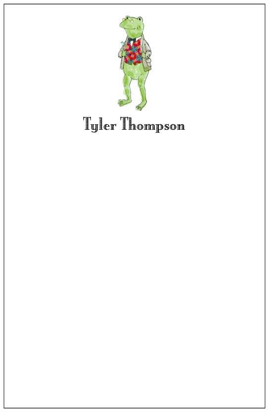 frog boy  notepad or notesheets in acrylic holder, personalized