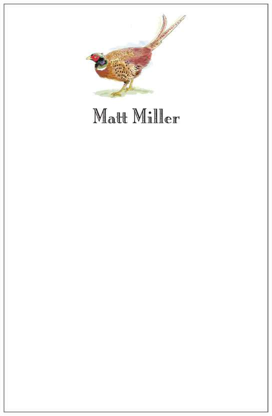 pheasant  notepad or notesheets in acrylic holder, personalized