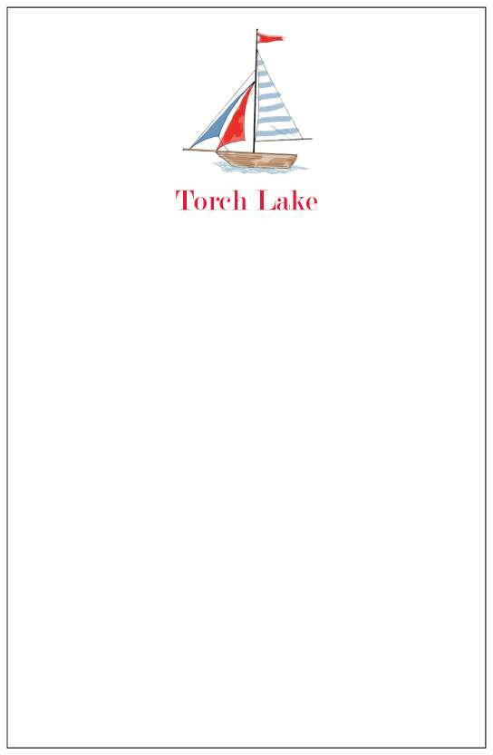 sail boat  notepad or notesheets in acrylic holder, personalized