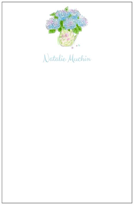 hydrangeas  notepad or notesheets in acrylic holder, personalized