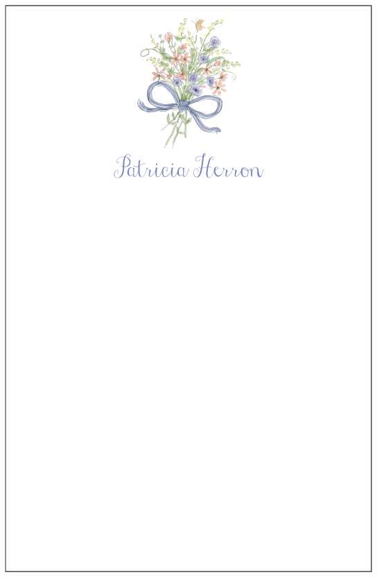 flower bouquet  notepad or notesheets in acrylic holder, personalized