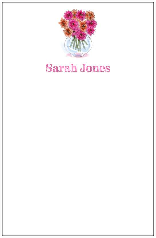 daisies in vase  notepad or notesheets in acrylic holder, personalized