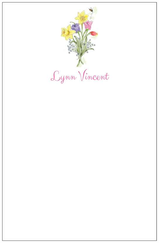 spring flowers  notepad or notesheets in acrylic holder, personalized