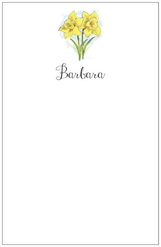 daffodils  notepad or notesheets in acrylic holder, personalized