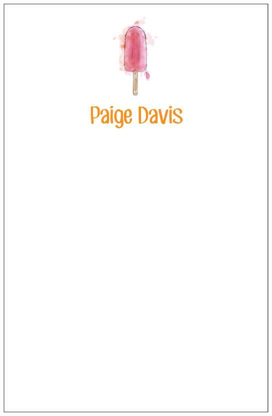 pink popsicle  notepad or notesheets in acrylic holder, personalized