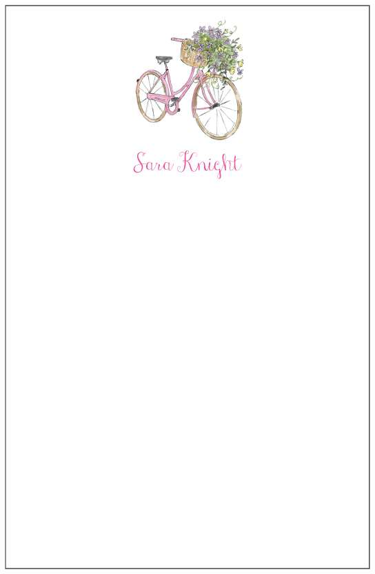 pink bike  notepad or notesheets in acrylic holder, personalized