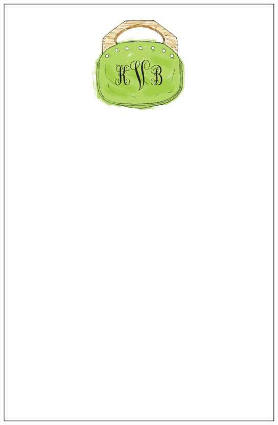 green bermuda bag  notepad or notesheets in acrylic holder, personalized