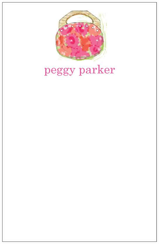 pink bermuda bag  notepad or notesheets in acrylic holder, personalized
