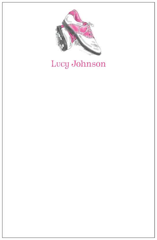 pink golf shoes  notepad or notesheets in acrylic holder, personalized