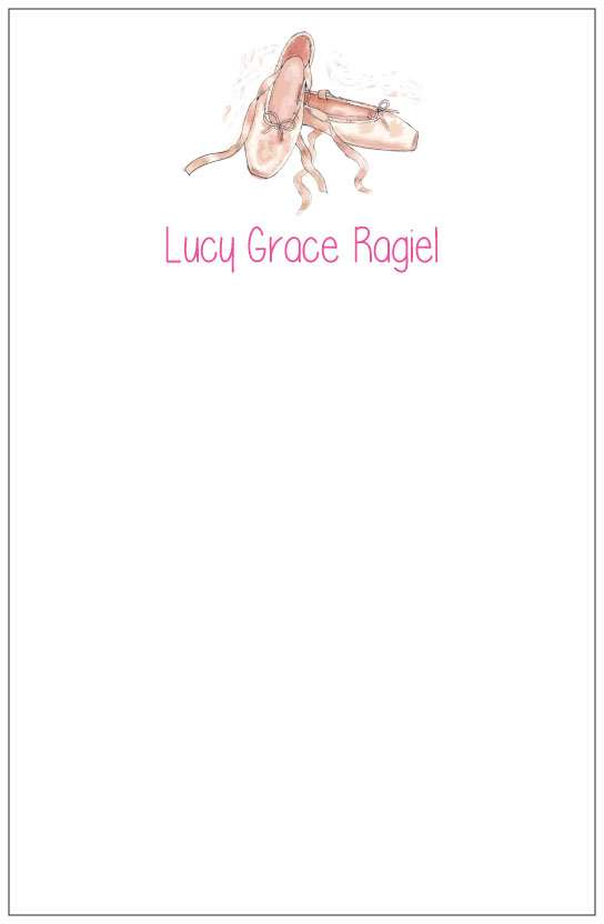 ballet slippers  notepad or notesheets in acrylic holder, personalized