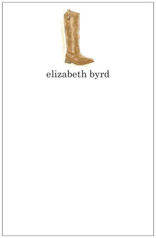 riding boot  notepad or notesheets in acrylic holder, personalized