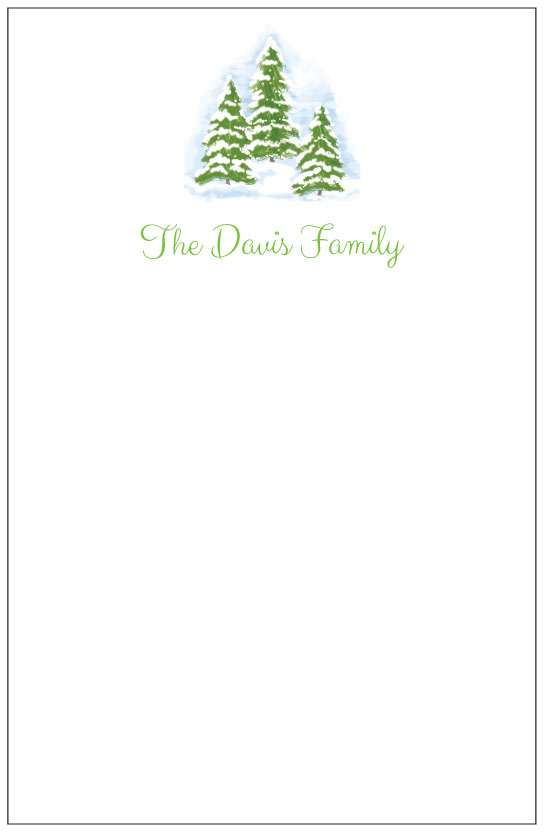 winter trees  notepad or notesheets in acrylic holder, personalized by Donovan Designs