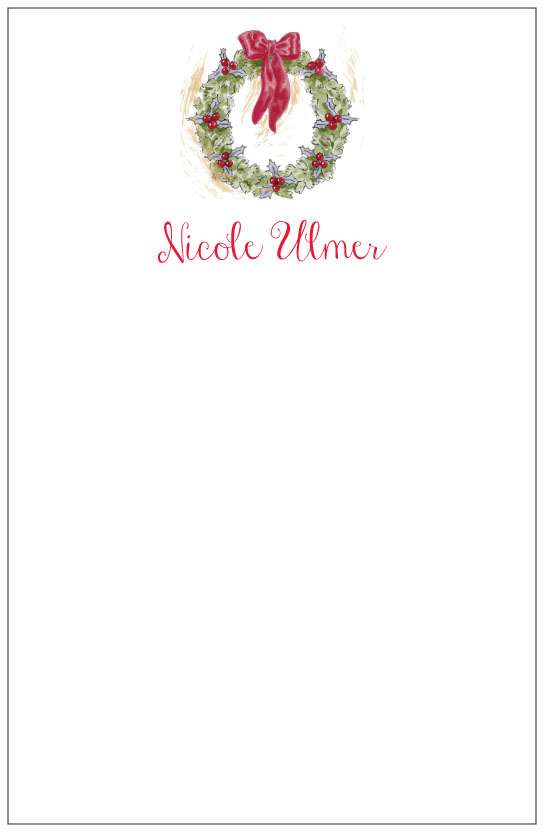 holiday wreath  notepad or notesheets in acrylic holder, personalized