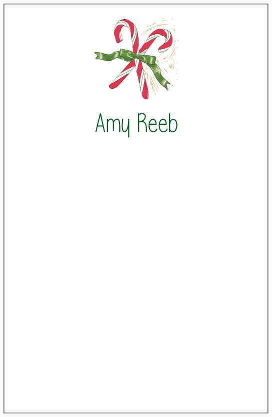 candy canes  notepad or notesheets in acrylic holder, personalized by Donovan Designs