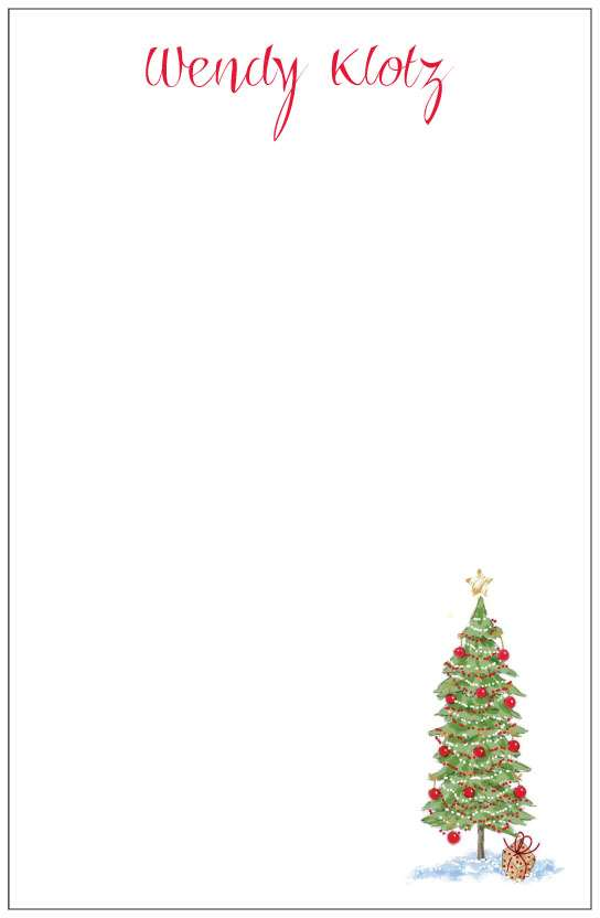 christmas tree  notepad or notesheets in acrylic holder, personalized