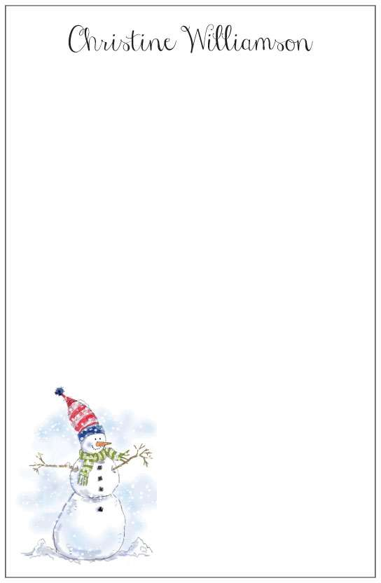 snowman  notepad or notesheets in acrylic holder, personalized by Donovan Designs