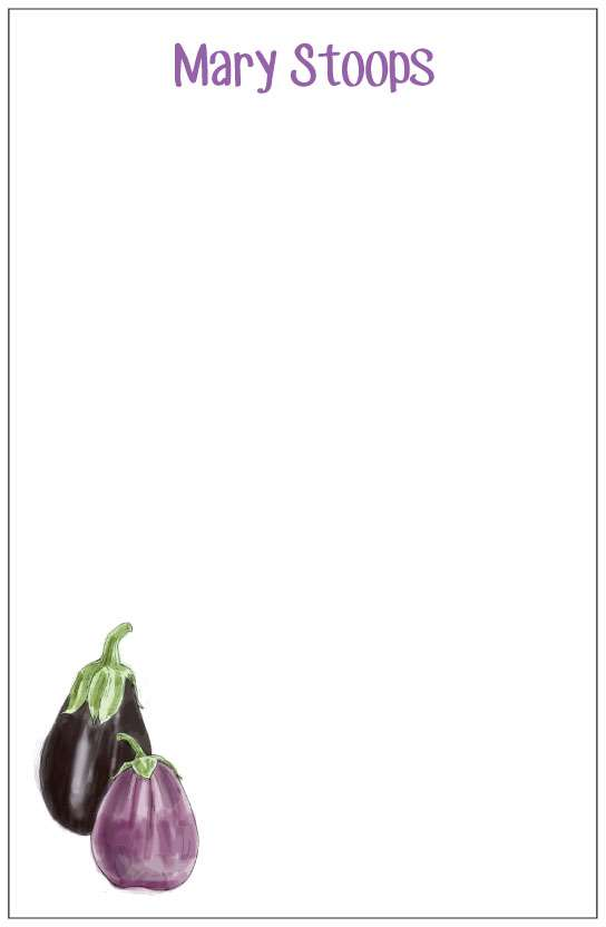 eggplant  notepad or notesheets in acrylic holder, personalized