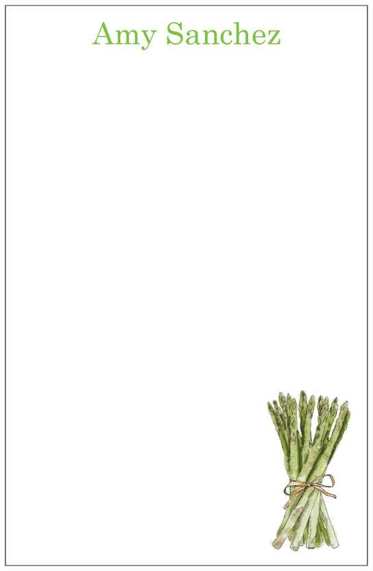 asparagus  notepad or notesheets in acrylic holder, personalized